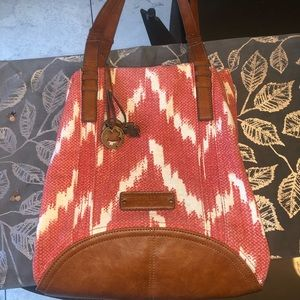 LUCKY BRAND red and cream tote bag